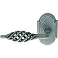 Emtek Lafayette Wrought Steel Door Handle in Satin Steel with Style #1 rosette